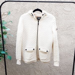 Sweaters - Barbour white hoodie sweater quilt